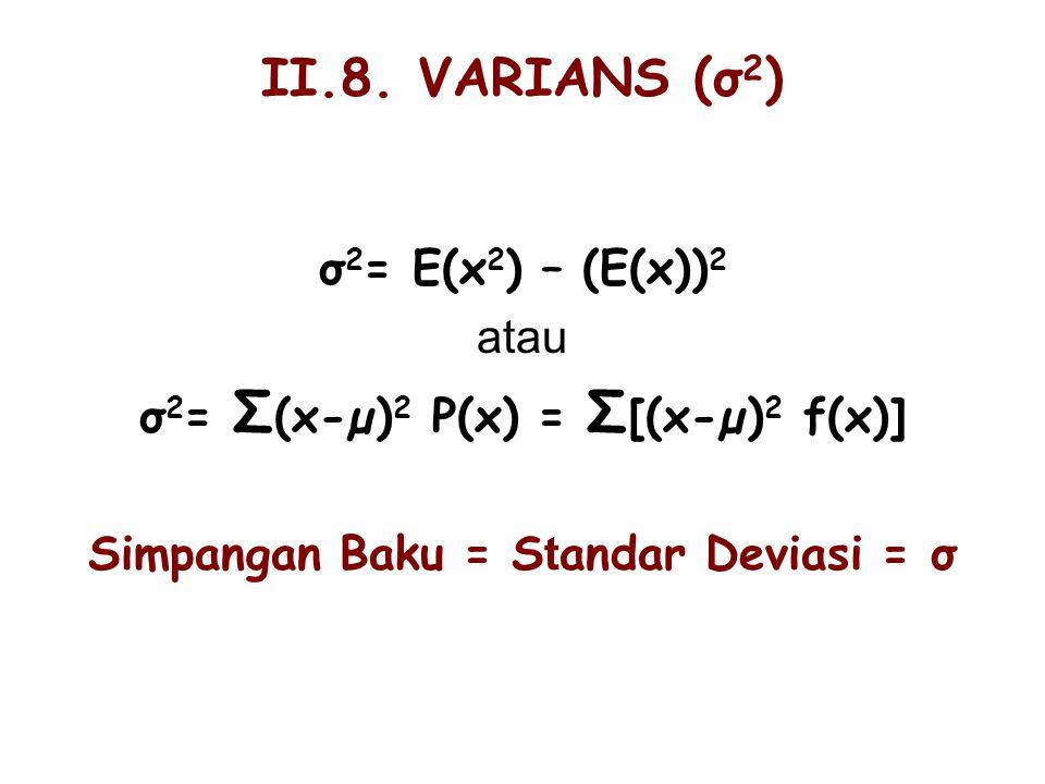 σ2= Σ(x-µ)2 P(x) = Σ[(x-µ)2 f(x)] Simpangan Baku = Standar Deviasi = σ